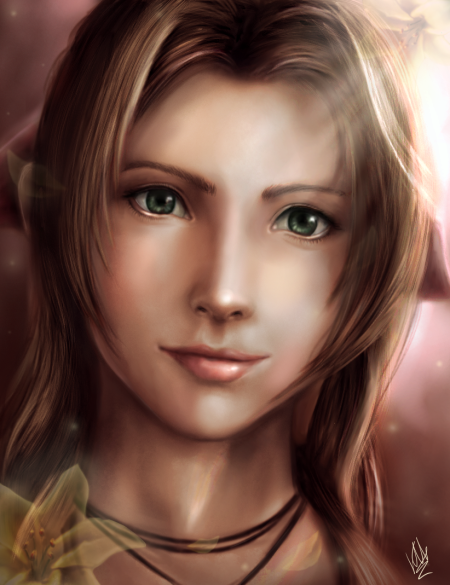 My fanart portraith of Aerith from FFVII